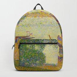 Gray weather Grande Jatte 1888 Oil Painting Pointillism Post-Impressionism Impressionism Modern art Backpack