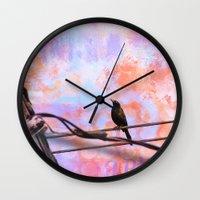 artsy Wall Clocks featuring Artsy Grackle by Angelandspot