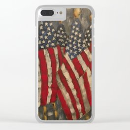 My Country Tis of Thee American Flags Clear iPhone Case