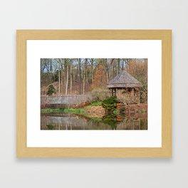 Brookside Bridge & Gazebo Framed Art Print