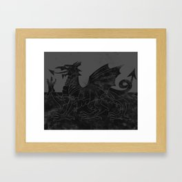 Black Wales Flag Framed Art Print