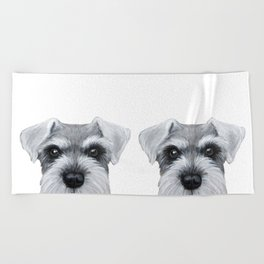 Schnauzer Grey&white, Dog illustration original painting print Beach Towel