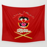 animal crew Wall Tapestries featuring Animal by DisPrints