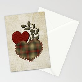 Red & Green Plaid Heart Love Letter Stationery Cards