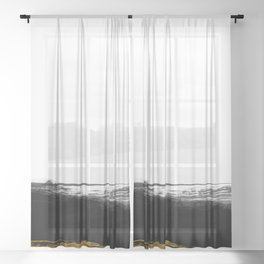 Black and Gold grunge stripes on clear white background - Stripe - Striped Sheer Curtain