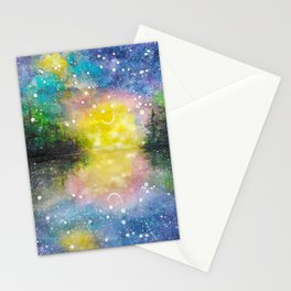 Crescent Moon Reflection Galaxy watercolor by CheyAnne Sexton Stationery Cards