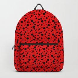Ladybug style - scarlet red background and black polka dots Backpack