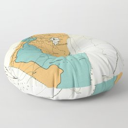 Map of Palestine Plan of Partition with Economic Union Floor Pillow