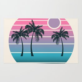 Dude! - retro 70s throwback minimal sunset beach tropical palm trees 1970's minimalism decor socal Rug