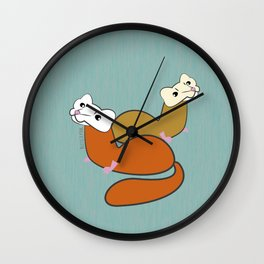 Malayan weasel (Mustela nudipes) Duo Wall Clock