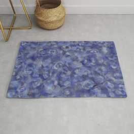 Slate Blue and Steel Silver Gray Unique Bubble Texture Rug