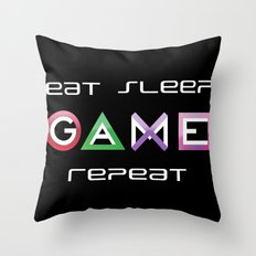 Eat, Sleep, Game, Repeat Throw Pillow