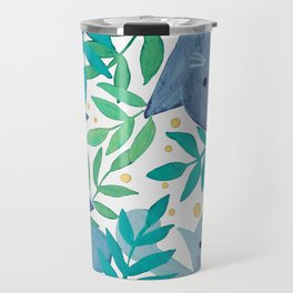 Cats and branches - blue and green Travel Mug