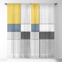 Geometric modern yellow blue gray white black pattern Sheer Curtain