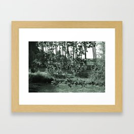 photograph of river landscape and plants in the field in soft green color for clothes, furniture, gi Framed Art Print