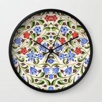 medieval Wall Clocks featuring Medieval Floral by Diana Kryski