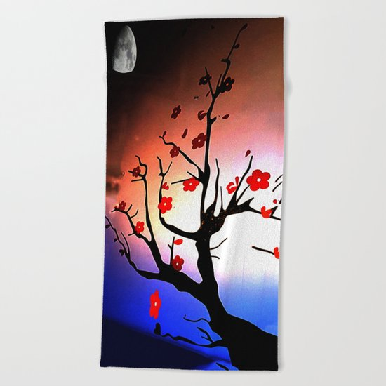 Japanese Maple Under Night Sky With Moon Beach Towel