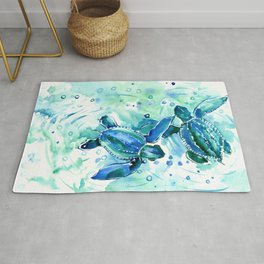 Turquoise Blue Sea Turtles in Ocean Rug