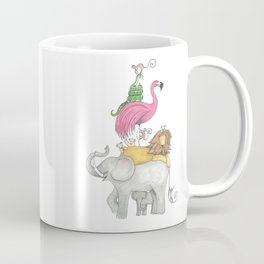 A Stack Of Animals with elephant, lion, flamingo, monkeys and snake Coffee Mug