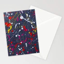 Paint splattered jeans Stationery Cards