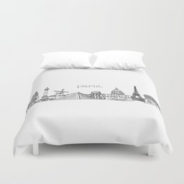 Paris Landmarks by the Downtown Doodler Duvet Cover