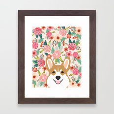 Welsh Corgi cute flowers spring summer garden dog portrait cute corgi puppy funny god illustrations Framed Art Print