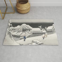 Kanbara Station - Vintage Japan Woodblock Rug