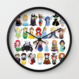 Kokeshis Fairy tales (new version) Wall Clock