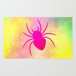 Pink spider under colorful clouds Rug