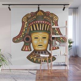 Clay Mayan Mask Wall Mural