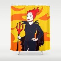 devil Shower Curtains featuring Devil Flames by Jessica Slater Design & Illustration