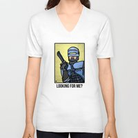 robocop V-neck T-shirts featuring RoboCop by Rat McDirtmouth