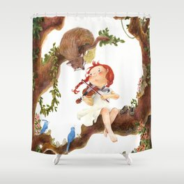 A girl playing violin Shower Curtain