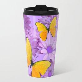 Yellow Butterflies Pinkish Lilac Color Purple Daisy Flowers Travel Mug