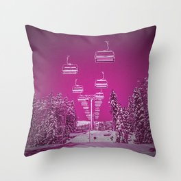 Chair Lift Off Fuchsia Throw Pillow