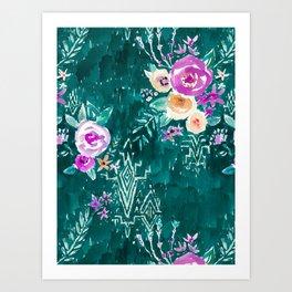 LAVISH FLORAL - EMERALD Art Print