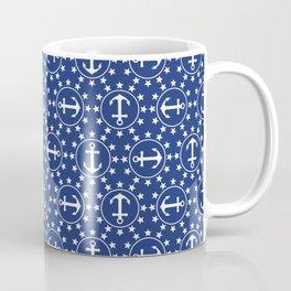 White Anchors & Stars Pattern on Navy Blue Coffee Mug