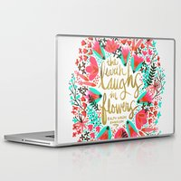 waldo Laptop & iPad Skins featuring The Earth Laughs in Flowers – Pink & Gold by Cat Coquillette