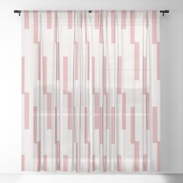 Minimal geometric pattern - Lightning Geo Pink Sheer Curtain