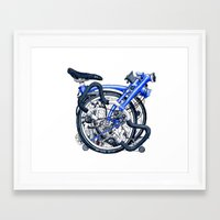brompton Framed Art Prints featuring Brompton Folded blue painting by Diana Powell