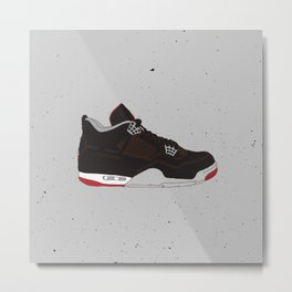 Air Jordan 4 Black Cement Metal Print