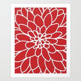 Red Modern Dahlia Flower Art Print