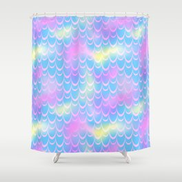 Blue and Pink Mermaid Tail Abstraction. Magic Fish Scale Pattern Shower Curtain