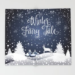 Christmas Winter Fairy Tale Fantasy Snowy Forest - Collection Throw Blanket