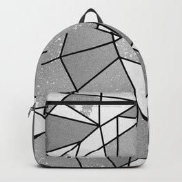 Cool Modern Black Gray Distressed Geometric Pattern Backpack