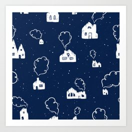 Cozy Winter Homes Pattern - Juniper Berry Blue Art Print