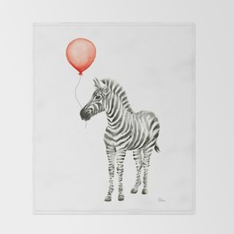Baby Zebra with Red Balloon Throw Blanket