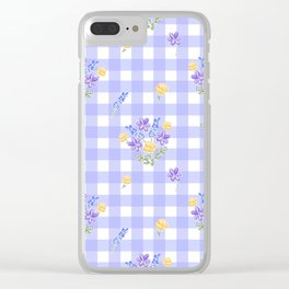 Spring picnic bouquets in Provence blue Clear iPhone Case