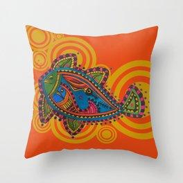 Madhubani - Orange Fish 2 Throw Pillow