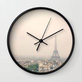 Eiffel Tower over soft peach background Wall Clock